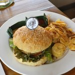 Chicken burger organic and local. Bread baked in house.