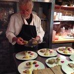 Chef Novi preparing the Tasting Plates