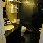 Bathroom - black granite, fixed glass panel in shower