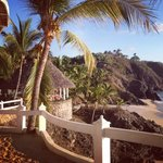 Another view from Sunset room's sandy patio. The palapa and beach