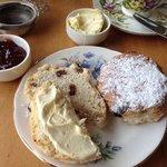 fruit scone, clotted cream, strawberry-rhubarb jam