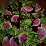 Fresh Greens with Watermelon Radish