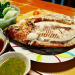 Grill Red Tilapia fish served with spicy sauce must try !