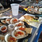 Fresh Raw Oysters and Crab Cakes