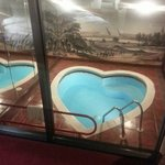 a picture of the pool from our bedroom...the pool in completely encased with glass