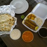 Lamb Kabob, Chicken Tikka and Garlic Naan