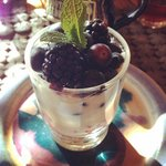Soy parfait with fresh berries