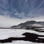 Vulkanlandschaft mit Schnee