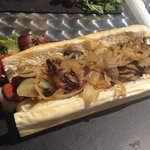 Massive delicious Frankie with onions and mushrooms!