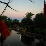 Hookah cafe. Watching the sunset. Moon