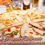 One of our delicious wood burning oven cooked pizza