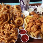 Huge portions (clam strips and scallops)