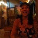 Debra, A happy camper at dinner.