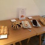 Sweets, focaccia and rolls at breakfast