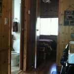 River Bend cabin: view from living room into bedroom