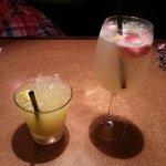 Left: mango lemonade. Right: peach sangria.  Both good!