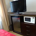 Flat screen TV, mini fridge and microwave