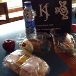 Lunch box, nice bag and homemade empanada plus sandwich!