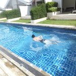 swimming at pool