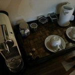 Coffee Machine, tea bags and kettle