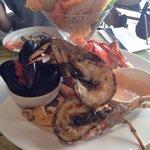 Grilled bugs, tasty mussels, prawns, sal