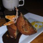 Maple Cake with candied orange bourbon sabayon ganache.