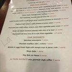 English version of menu Oct 2013