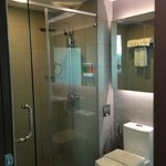 Standing shower and toilet.