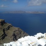 View from the terrace right of Skaros towards island of Therasia.