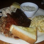 Mac's sampler: brisket, ribs, turkey, and pulled pork with rice n beans and mac+cheese