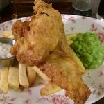 Large cod fillet with mushy peas