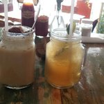 Ice cappuccino and lime ice tea