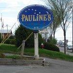 "the familiar landmark ""Pauline's"" sign"