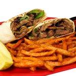 Steak Wrap with Sweet Potato Fries