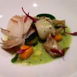 Cuddle Fish with vegetable purée, artichoke, heart of Palm...delicious