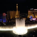 View from Bellagio room of fountains during evening show.