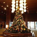 The lobby centerpiece at Christmas