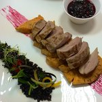 Duck breast with sweet potatoes and wild berries sauce!!!!
