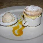 Passion Fruit Souffle with Vanilla Ice Cream