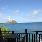 Our view from breakfast of Pigeon Island