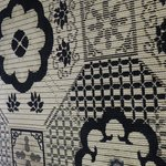 The carpet in our room decorated in black and white