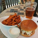 Barbecue pulled pork and sweet potato fries, with ranch sipping sauce. $9.50.