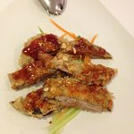 "Berenjenas rellenas de carne de cerdo con una salsa china ""Sichuan"""