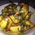 Mario's fried plantains with a chimichurri sauce