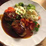 Tasty pork dish - served with a side of red cabbage