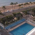 View of the pool and walkway to beach from our room