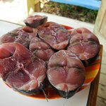 The tuna we caught, cut into steaks