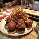 9 Sliders (hamburgers) with Onion Rings