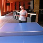 playing ping pong with my wife,  i won