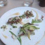 pannacotta d'asperge, pickles de légumes, foie gras poêlé